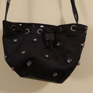 TEMPORARILY ON HOLD Faux suede blinged bucket bag